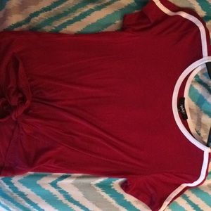 Tops - Maroon shirt with 2 white stripes on the side